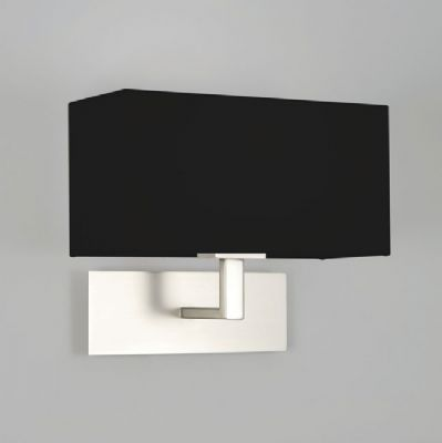 Park Lane Matt Nickel Wall Light complete with a Black Fabric Shade - astro 1080022 (7098)